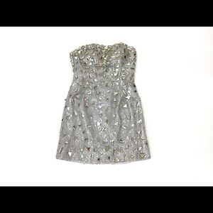 Milano Strapless Silver Sequin Beaded Dress Size 4